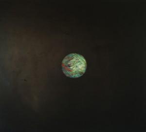 Boule magnétique 1, huile sur bois, 100 x 110, 2003