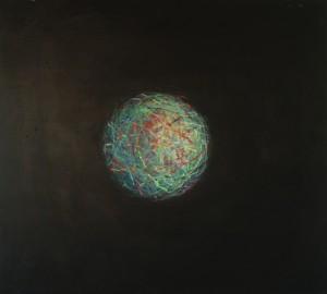 Boule magnétique 2, huile sur bois, 100 x 110 cm, 2003