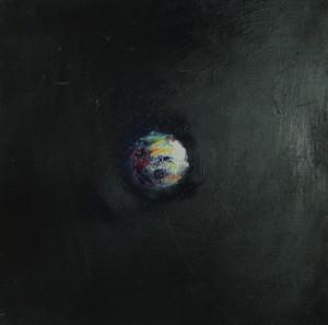 Boule magnétique 4, huile sur bois, 30 x 30 cm, 2003