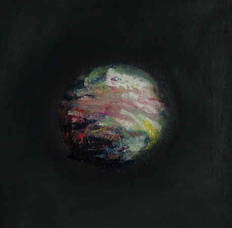 Boule magnétique 6, huile sur bois, 30 x 30 cm, 2003