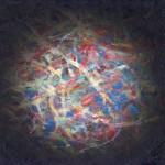 Boule magnétique polychrome, huile sur bois, 30 x 30 cm, 2003