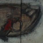 Chien rouge, huiles sur toile, 80 x 40 cm, 1987