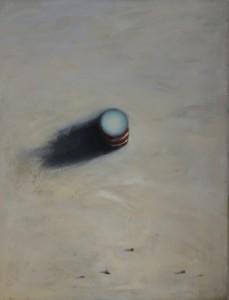 Elément Rouge - Blanc - vue aérienne, huile sur bois, 160 x 120 cm, 2000