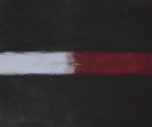 Flux - Rouge - Blanc, huile sur bois, 100 x 120 cm, 2011