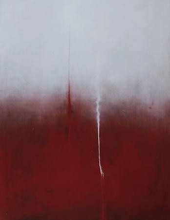 Flux - Rouge - Blanc, huile sur bois, 160 x 120 cm, 2009