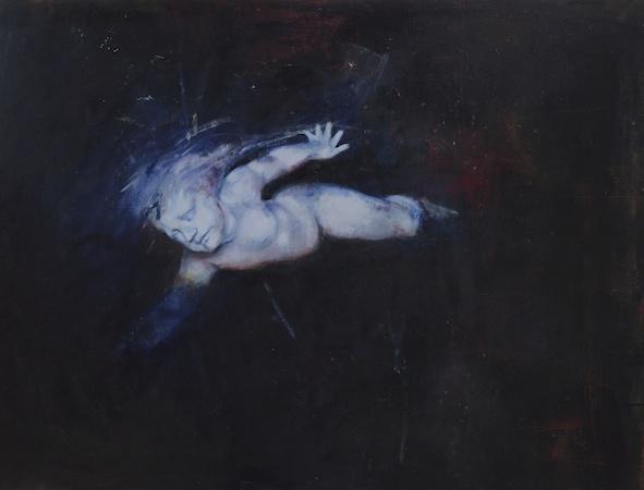 Le Nageur, huile sur bois, 120 x 160 cm, 2013