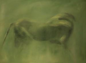 Lion vert 1, huile sur bois, 90 x 120 cm, 2011