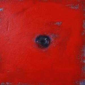 Oeil / Orange cadmium, huile sur bois, 30 x 30 cm, 2013