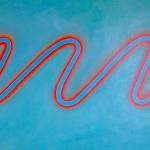 Onde bleue+orange, huile sur bois, 90 x 120 cm, 2005