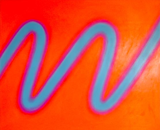 Onde bleue, huile sur bois, 90 x 110 cm, 2005