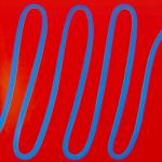 Onde bleue sur rouge, huile sur bois, 110 x 90 cm, 2005