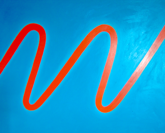 Onde orange, huile sur bois, 90 x 110 cm, 2005