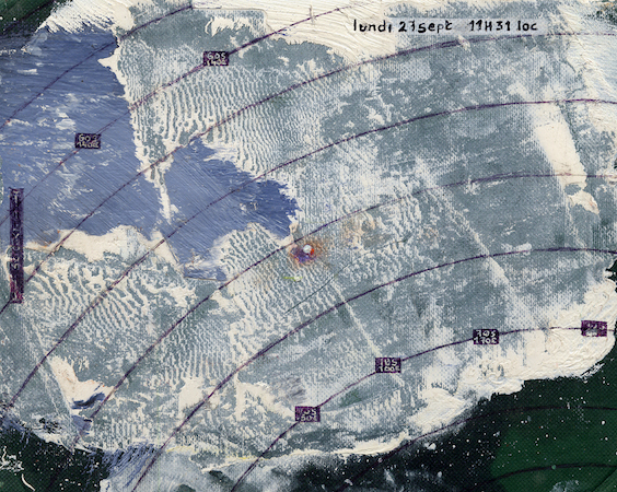 Pictsatellite 1, huile sur carton, 13 x 16 cm, 2004