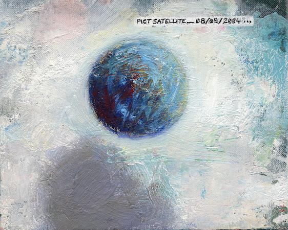 Pictsatellite 10, huile sur carton, 13 x 16 cm, 2004