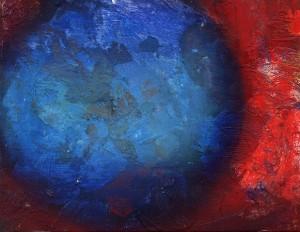 Pictsatellite 17, huile sur carton, 13 x 16 cm, 2005