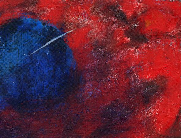Pictsatellite 18, huile sur carton, 13 x 16 cm, 2005