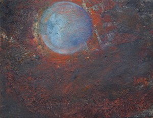 Pictsatellite 19, huile sur carton, 13 x 16 cm, 2005