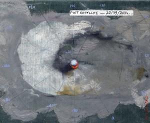 Pictsatellite 2, huile sur carton, 13 x 16 cm, 2004