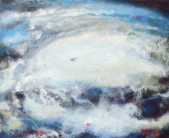 Pictsatellite 22, huile sur carton, 13 x 16 cm, 2005