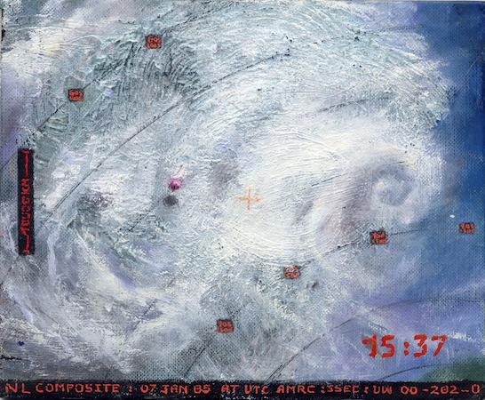 Pictsatellite 24, huile sur carton, 13 x 16 cm, 2005
