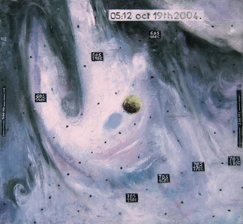 Pictsatellite 31, huile sur bois, 32 x 35 cm, 2004