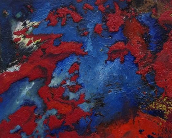 Pictsatellite 32, huile sur carton, 13 x 16 cm, 2013