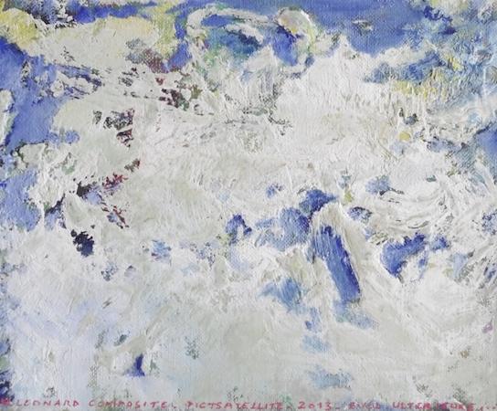 Pictsatellite 33, huile sur carton, 13 x 16 cm, 2013