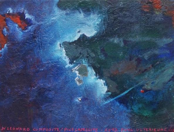 Pictsatellite 34, huile sur carton, 13 x 16 cm, 2013