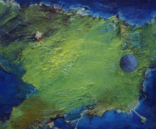 Pictsatellite 37, huile sur carton, 13 x 16 cm, 2013