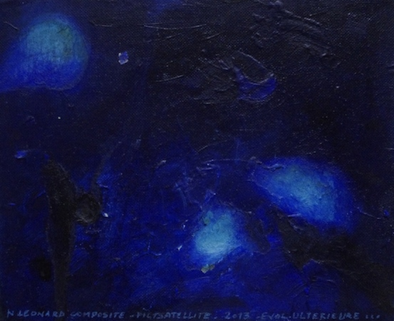 Pictsatellite 39, huile sur carton, 13 x 16 cm, 2013