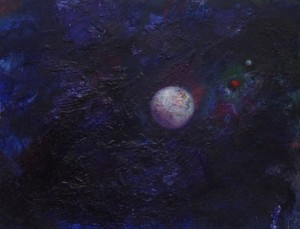 Pictsatellite 43, huile sur carton, 13 x 16 cm, 2013
