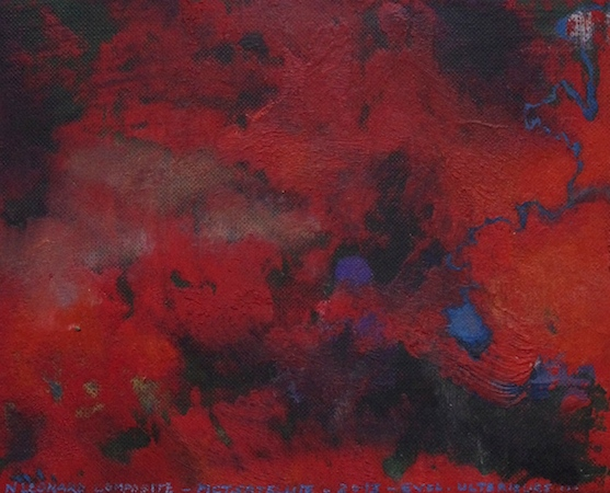 Pictsatellite 44, huile sur carton, 13 x 16 cm, 2013