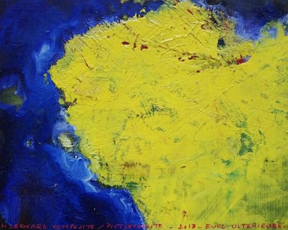Pictsatellite 47, huile sur carton, 13 x 16 cm, 2013