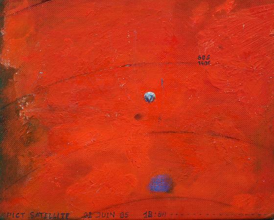Pictsatellite 5, huile sur carton, 13 x 16 cm, 2005