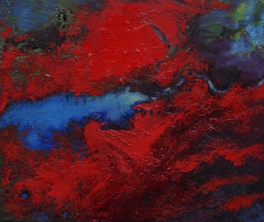 Pictsatellite 51, huile sur carton, 13 x 16 cm, 2013