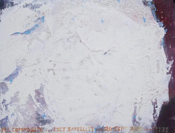 Pictsatellite 55, huile sur carton, 13 x 16 cm, 2013