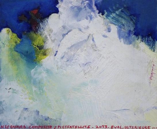 Pictsatellite 56, huile sur carton, 13 x 16 cm, 2013