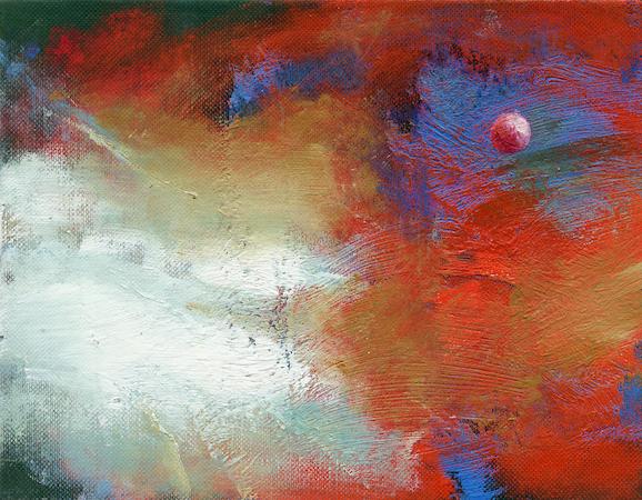 Pictsatellite 6, huile sur carton, 13 x 16 cm, 2004