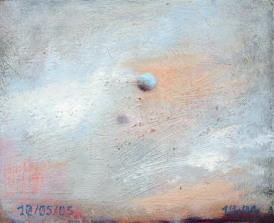 Pictsatellite 8, huile sur carton, 13 x 16 cm, 2005