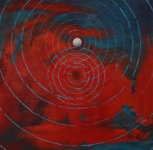 Pictsatellite, huile sur bois, 30 x 30 cm, 2009