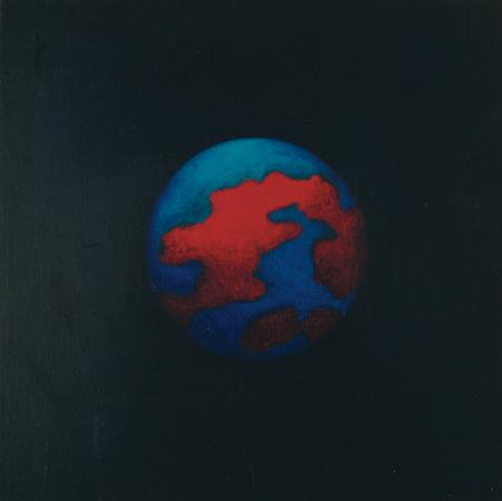 Planisphère 3, huile sur bois, 24 x 24 cm, 2007