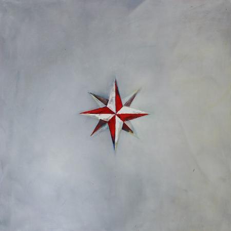 Rose des vents 1, huile sur bois, 120 x 120 cm, 2014