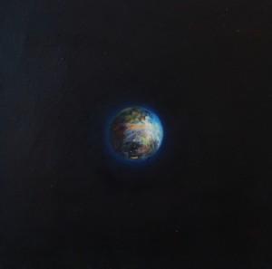 Sphère 3, huile sur bois, 30 x 30 cm, 2010