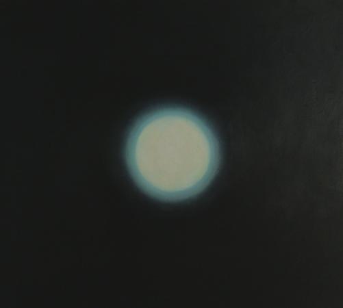 Sphère blanche, huile sur bois, 100 x 110 cm, 2008