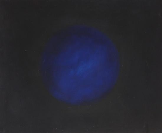 Sphère bleue, huile sur bois, 100 x 120 cm, 2009