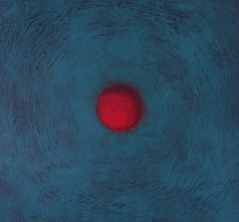 Sphère rouge 2, huile sur bois, 30 x 30 cm, 2006