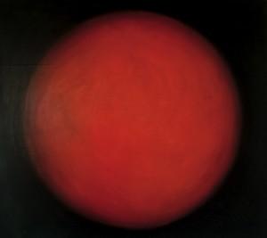 Sphère rouge, huile sur bois, 100 x 110 cm, 2003