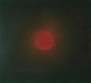 Sphère rouge, huile sur bois, 30 x 30 cm, 2006