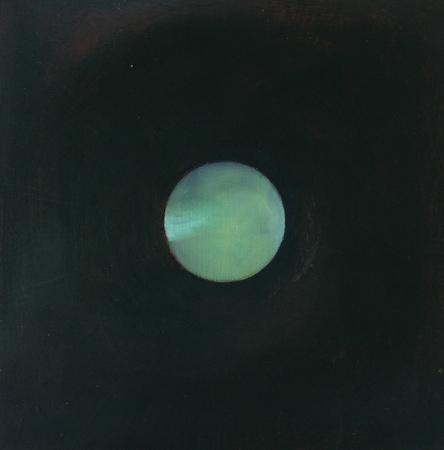 Sphère vert aquatique, huile sur bois, 30 x 30 cm, 2002