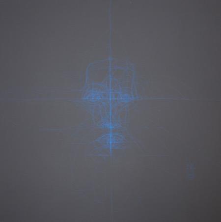 Dessin intuitif 1, acrylique sur bois, 90 x 90 cm, 2015